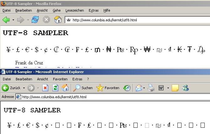 Oben sehen sie das ergebnis im browser firefox unten im microsoft